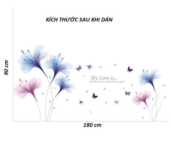 Decal tranh hoa thủy tinh xanh hồng AmyShop DH076 (90 x 180 cm)