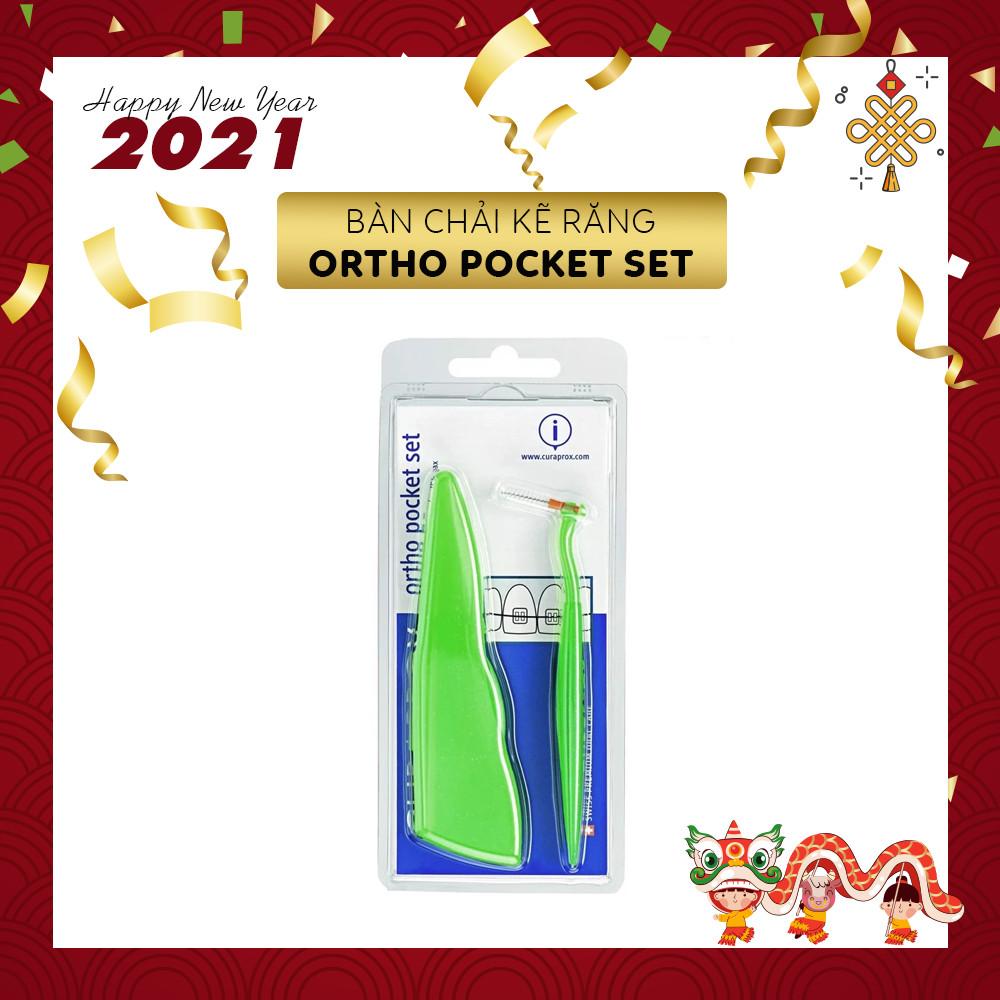 Bộ Bàn Chải Kẽ Cho Răng Niềng Curaprox CPS Ortho Pocket Set Có Hộp Đựng