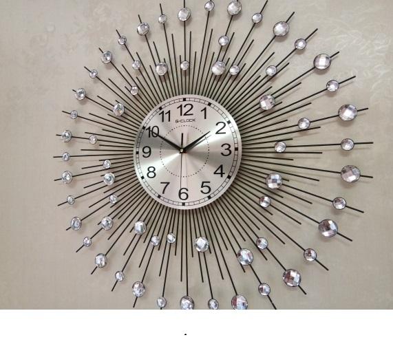 Đồng hồ treo tường GCLOCK loại to KT 750mm cao cấp làm từ kim loại sơn tĩnh điện chạy máy kim trôi chuẩn (1802BG)
