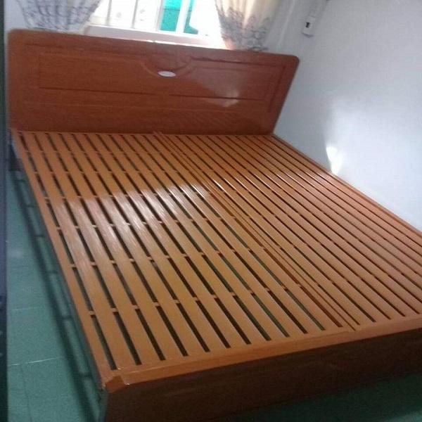 Giường sắt hộp  giả gỗ màu gỗ vàng tự nhiên cao  cấp 1m6 x2m