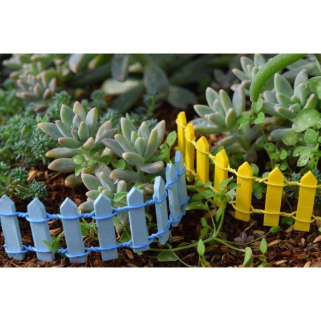Hàng rào gỗ trang trí nhiều màu, trang trí tiểu cảnh terrarium, decor chậu cây, DIY