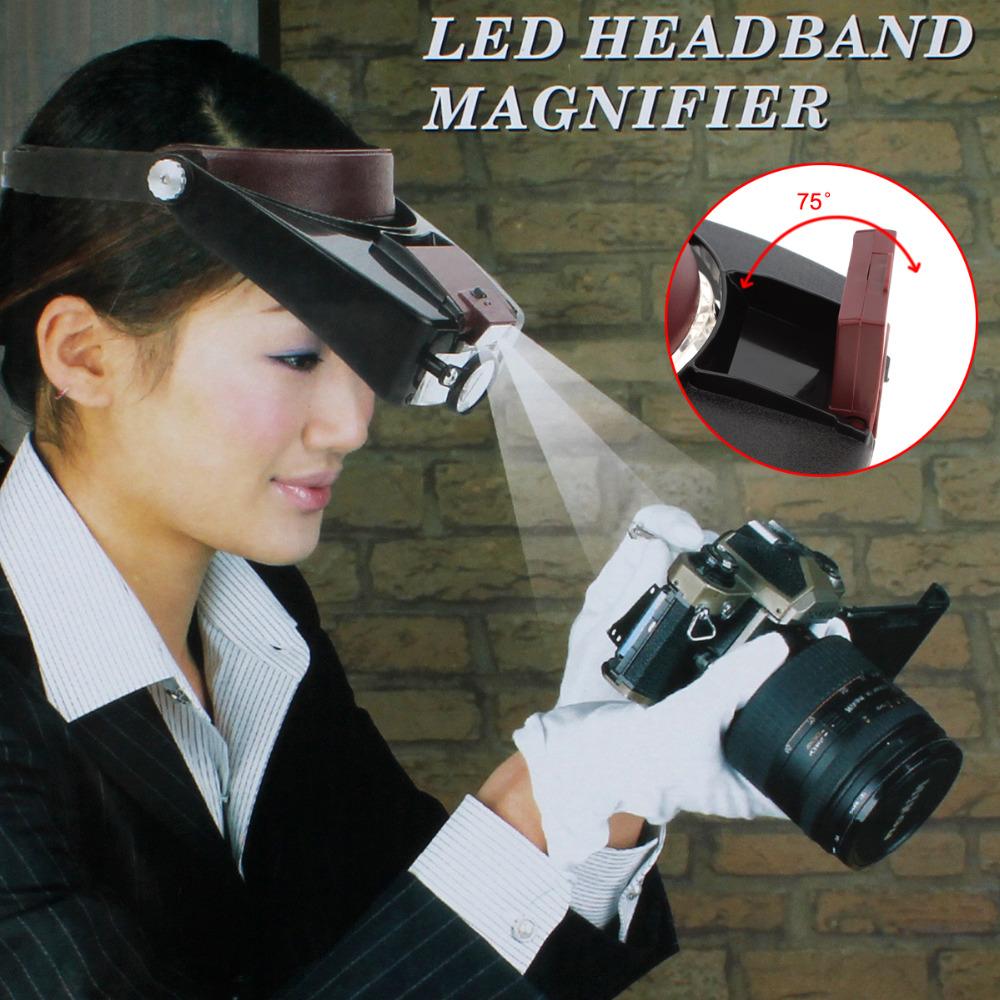 Kính lúp đeo trán có đèn, hỗ trợ đọc sách, báo  ( Tặng móc khóa tô vít )