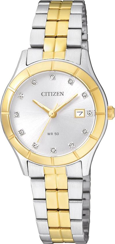 Đồng Hồ Citizen Nữ Đính Đá Swarovski Dây Kim Loại Pin-Quartz EU6044-51A - Mặt Trắng (28mm)