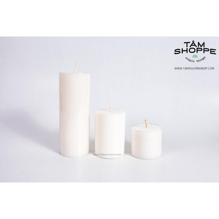 Bộ 3 nến trụ trắng cao 5-10-15cm
