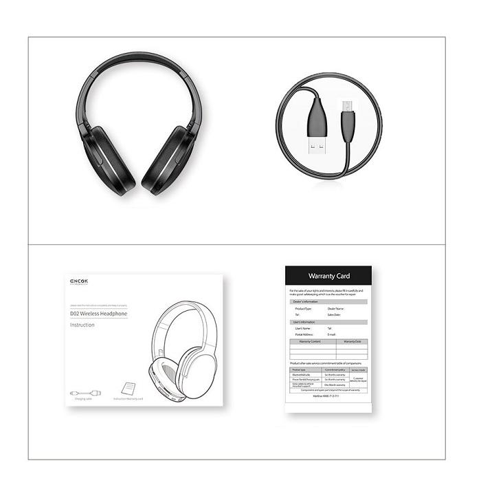 Tai nghe chụp tai chính hãng không dây cao cấp dành cho Baseus Encok D02 Stereo (Bluetooth Wireless Hifi Surround Headphone)