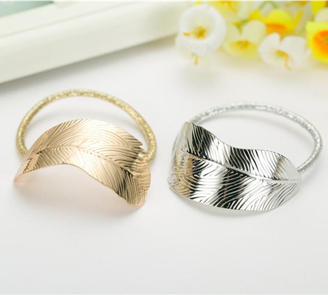 Set 2 dây buộc tóc hình lá cây DB02 mầu vàng và bạc