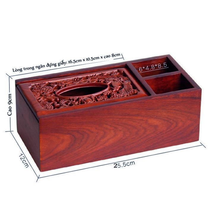 Hộp đựng khăn giấy ăn kèm hai ngăn tiện ích gỗ hương quý hiếm (3N01)