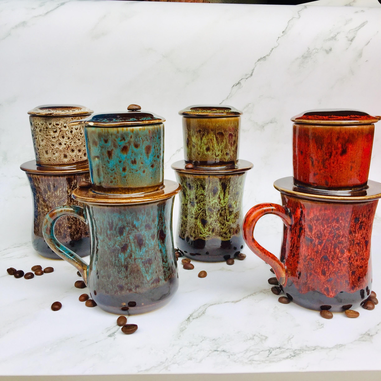 Bộ phin pha cà phê - Phin cà phê - Ly pha cà phê - Cốc pha cà phê - cafe Gốm sứ cao cấp men hỏa biến nhiều màu sắc dáng ly cốc cao