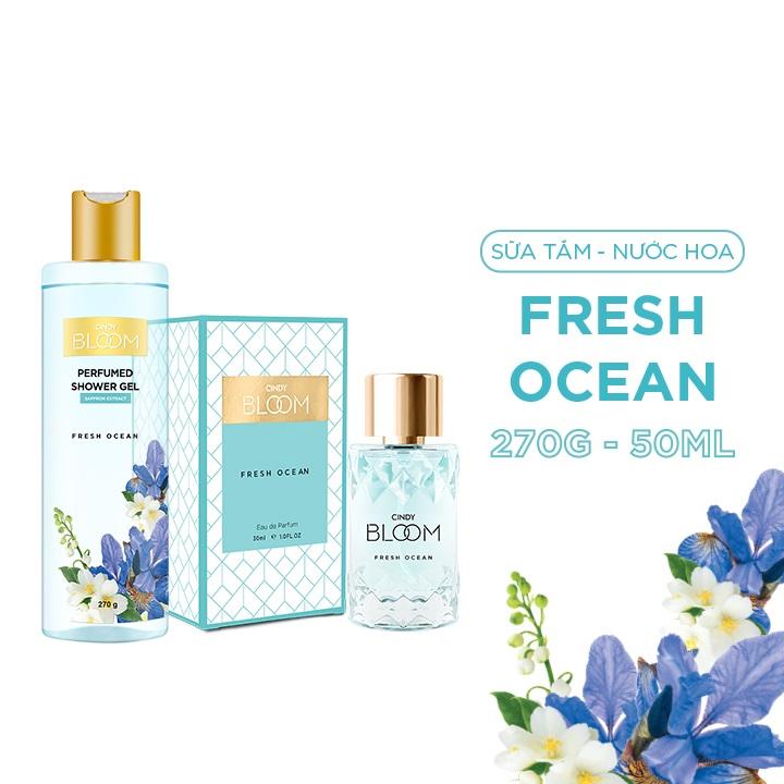 Bộ Nước Hoa Cindy Bloom 50ml & Sữa Tắm Nước Hoa 270g Fresh Ocean - Năng Động