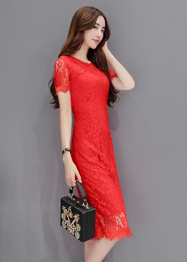 Đầm Suông Phối Ren D2810 - Đỏ Size M