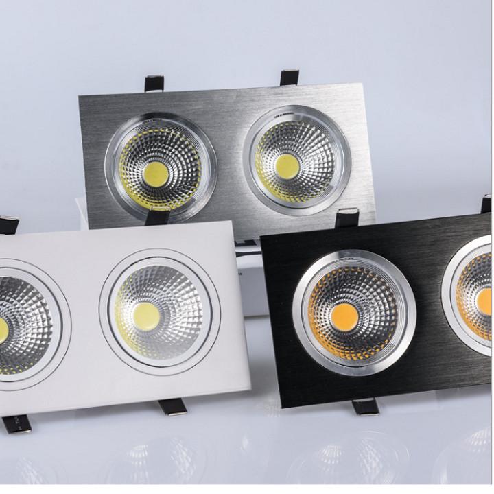 Đèn âm trần đôi cao cấp, 2 bóng đèn mắt cob đặc biệt có khả năng xoay, công nghệ chiếu sáng led với chip Birdgelux giúp nâng cao hiệu quả chiếu sáng, tiết kiệm điện năng tối đa