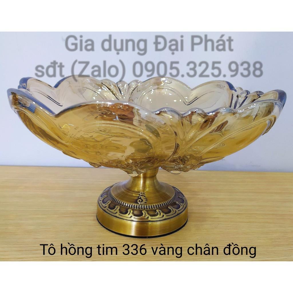 TÔ TRƯNG TRÁI CÂY CHẤT LIỆU THỦY TINH CAO CẤP - Tô hồng tim lớn 336 vàng chân đồng ĐK=30CM