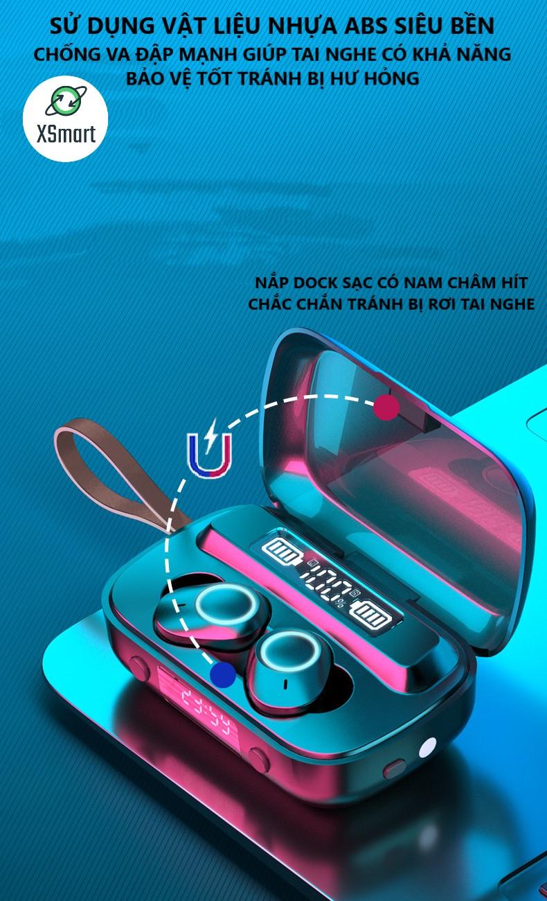 Tai nghe bluetooth không dây XSmart M13 PREMIUM BASS, có màn hình kỹ thuật số hiển thị pin, đồng hồ, tai phone nhét tai đẹp - Hàng Chính Hãng