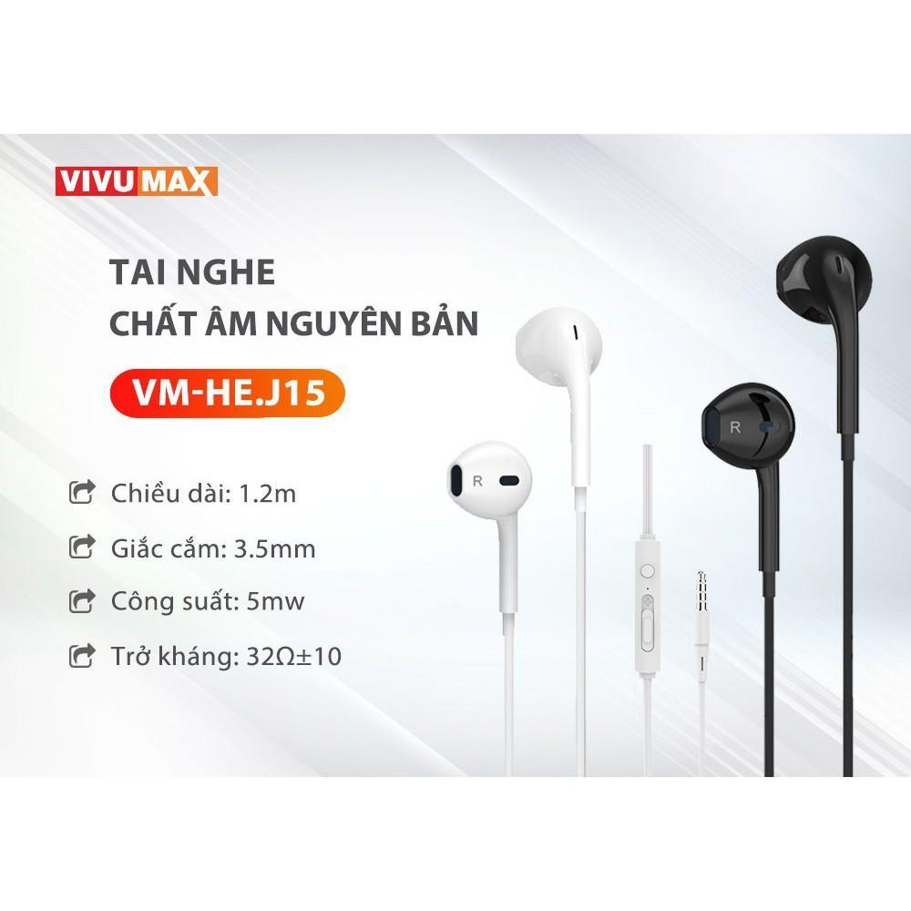 Tai nghe nhét tai có dây VivuMax J15 - Jack cắm 3.5mm, có Mic/Microphone - Cho iOS/Apple (iPhone/iPad), Android