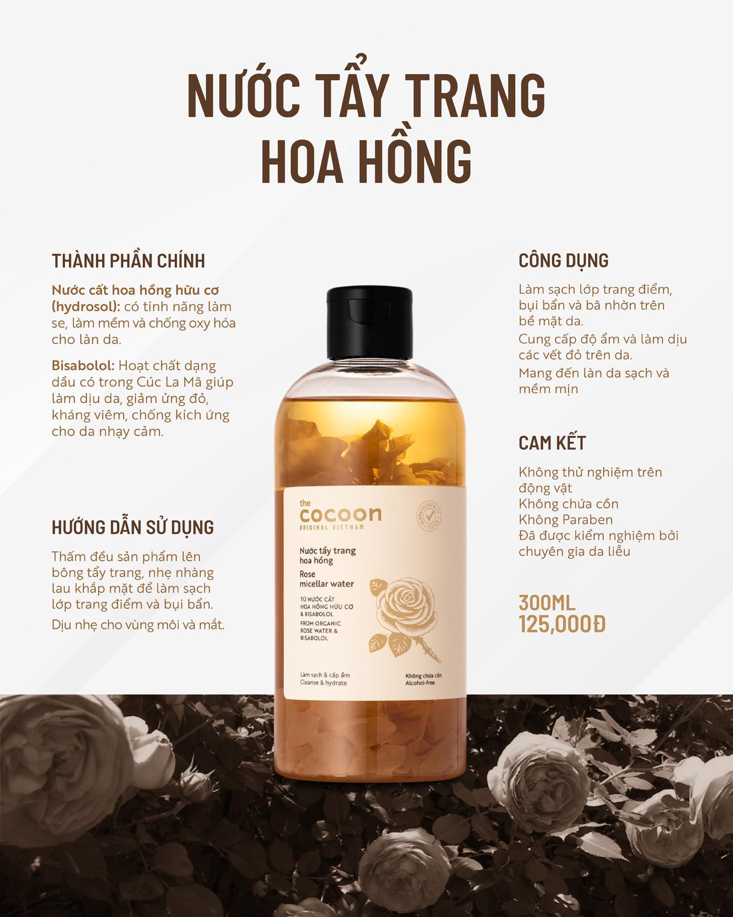 Nước Tấy Trang Hoa Hồng Cocoon 300ml - Tẩy trang Nhãn hiệu THE COCOON |  MuaDoTot.com