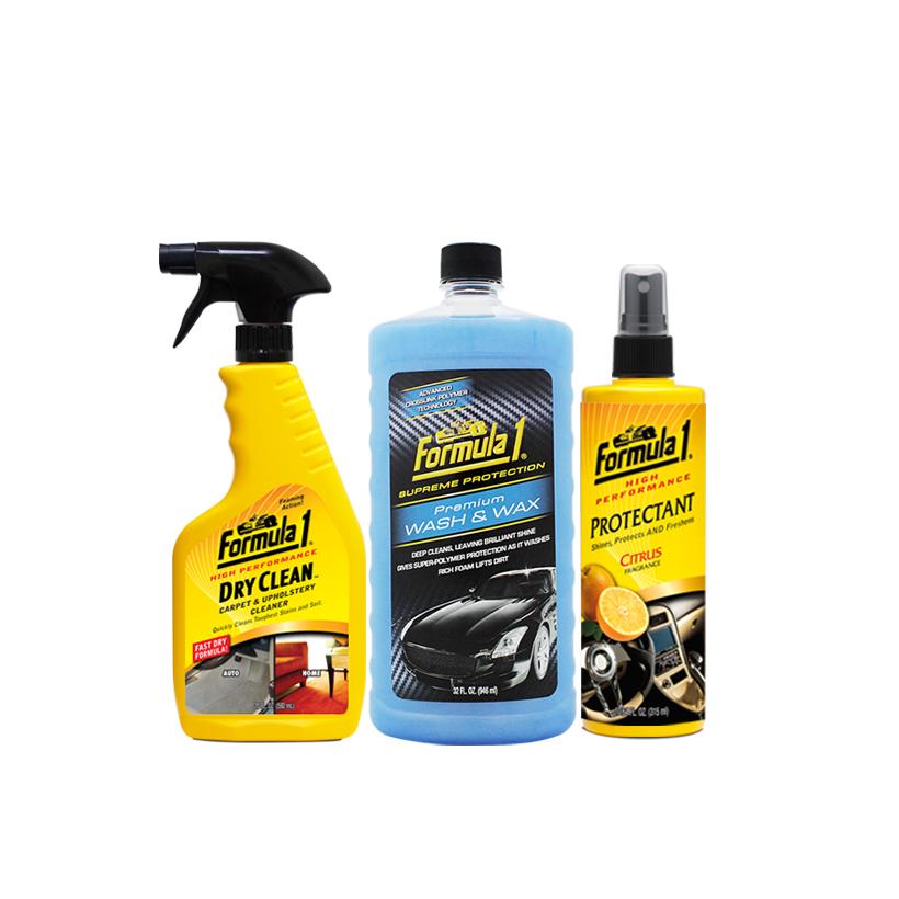 Combo Chăm sóc nội thất ngoại thất xe Formula 1: Giặt nệm khử mùi dạng xịt-Nước rửa xe có chất đánh bóng-Chất bảo dưỡng 2 trong 1 hương cam