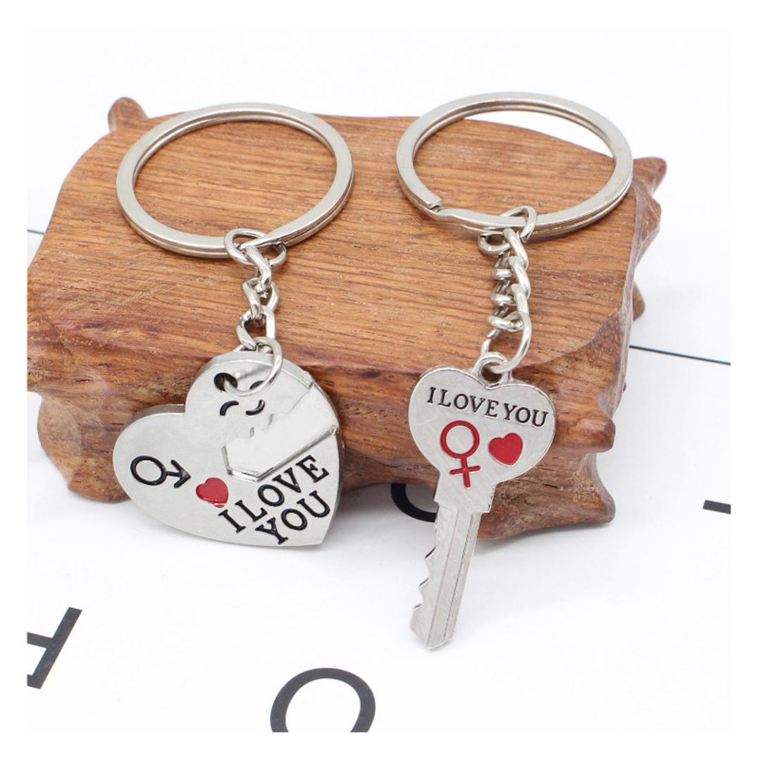 Cặp móc khóa trái tim và chìa khóa trái tim bản kết nối dành cho các cặp tình nhân cực dễ thương