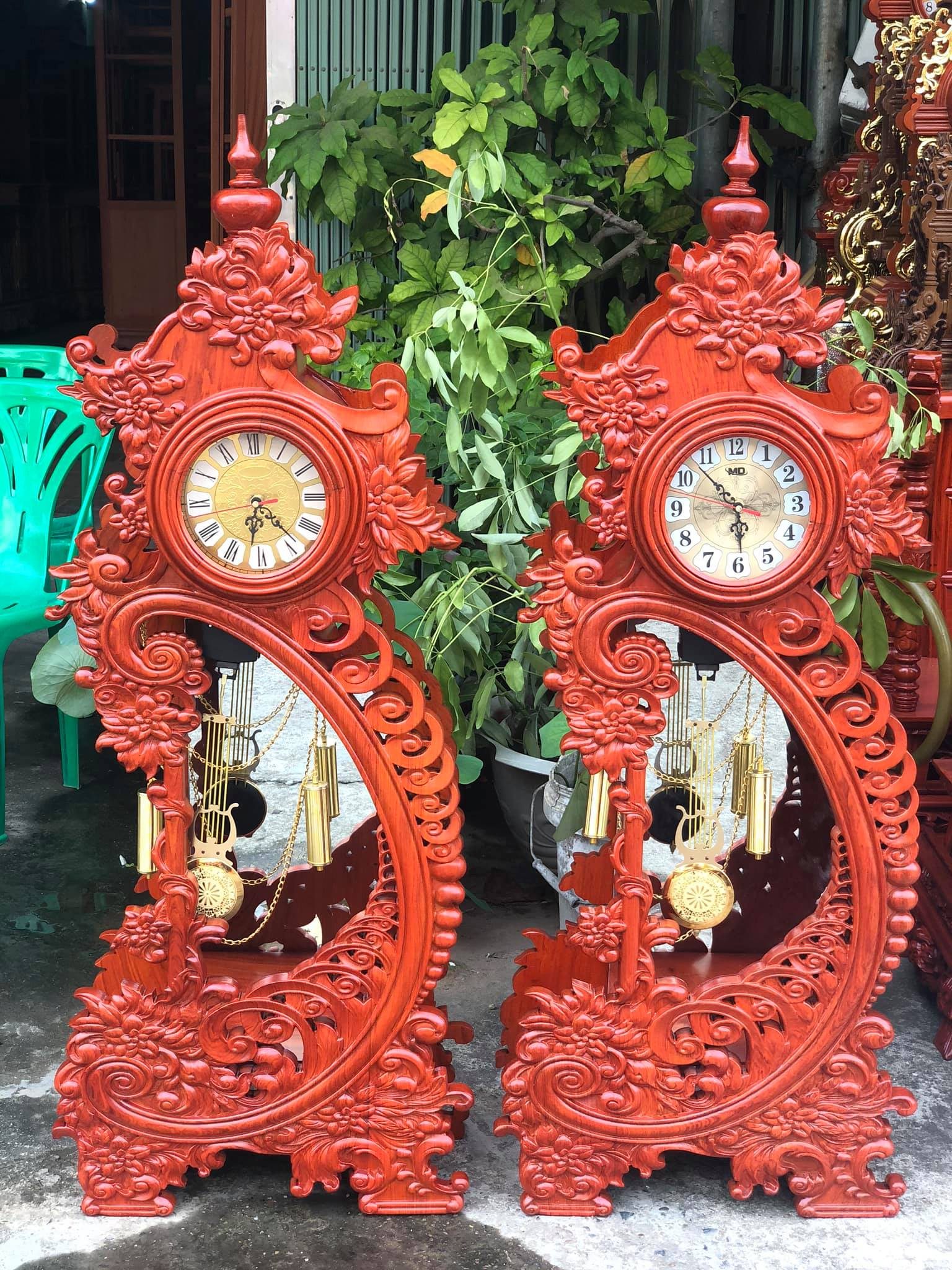 Đồng hồ Hoa Mẫu Đơn gỗ Hương trang trí phòng khách cực đẹp