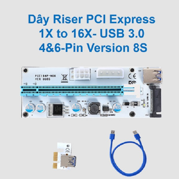 Dây riser PCI express 1X to 16X- USB 3.0 4pin 6pin version 8S D00-234