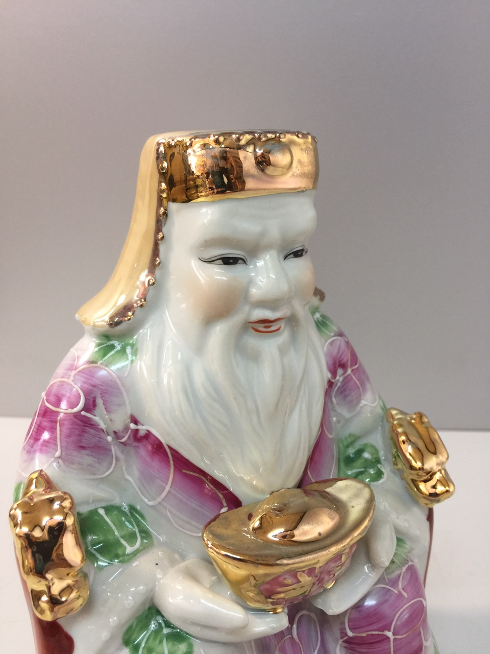 Cặp tượng thần Tài thổ địa (tài áo hoa  sứ bát tràng cao cấp) dành cho Ban thần Tài