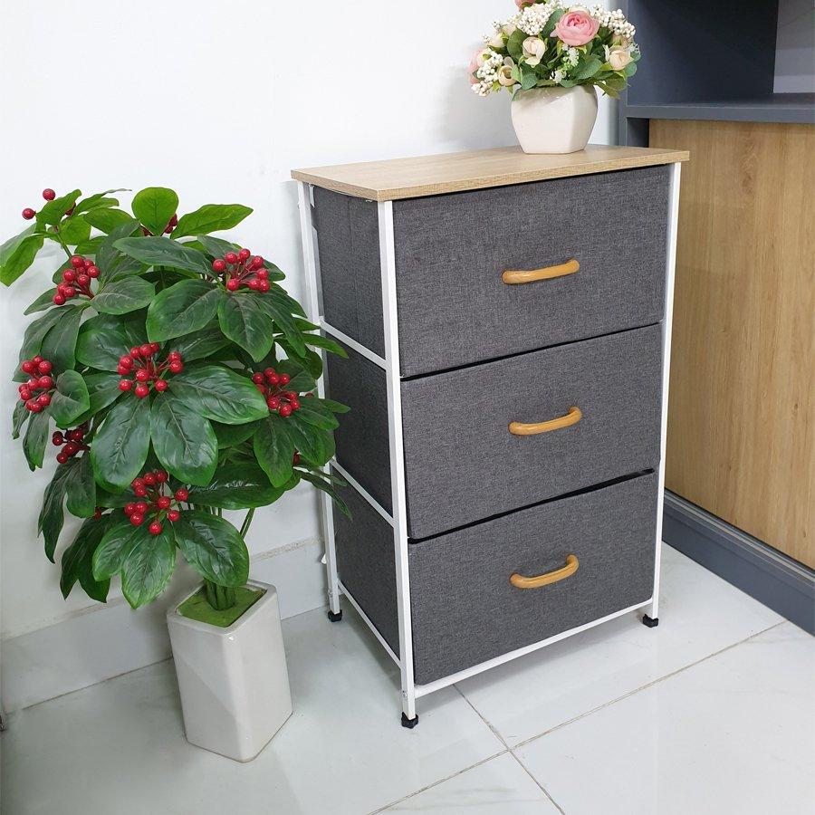Tủ đựng quần áo - tủ đựng đồ đa năng 3 ngăn - KEMA03 - vải Oxfort 600D, khung sắt cứng cáp, đẹp, bền phong cách Mỹ