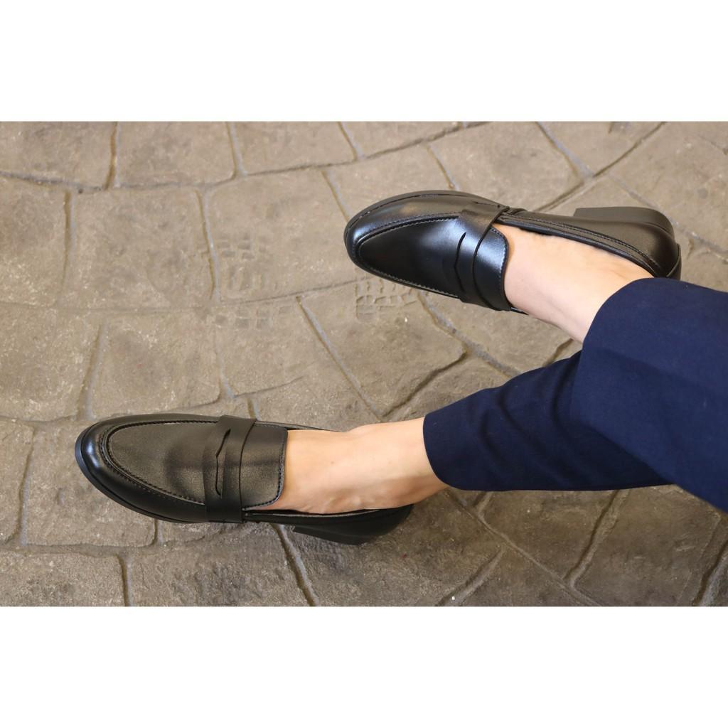 Giày tây giầy lười nam hàn quốc da lì đai én thời trang