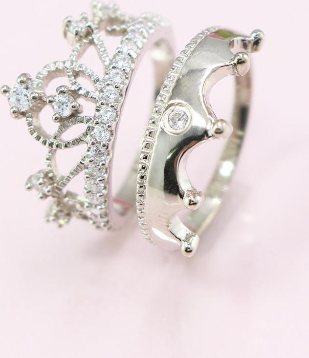 Nhẫn đôi bạc nhẫn cặp bạc đẹp King-Queen ND0325 - 10 - 8