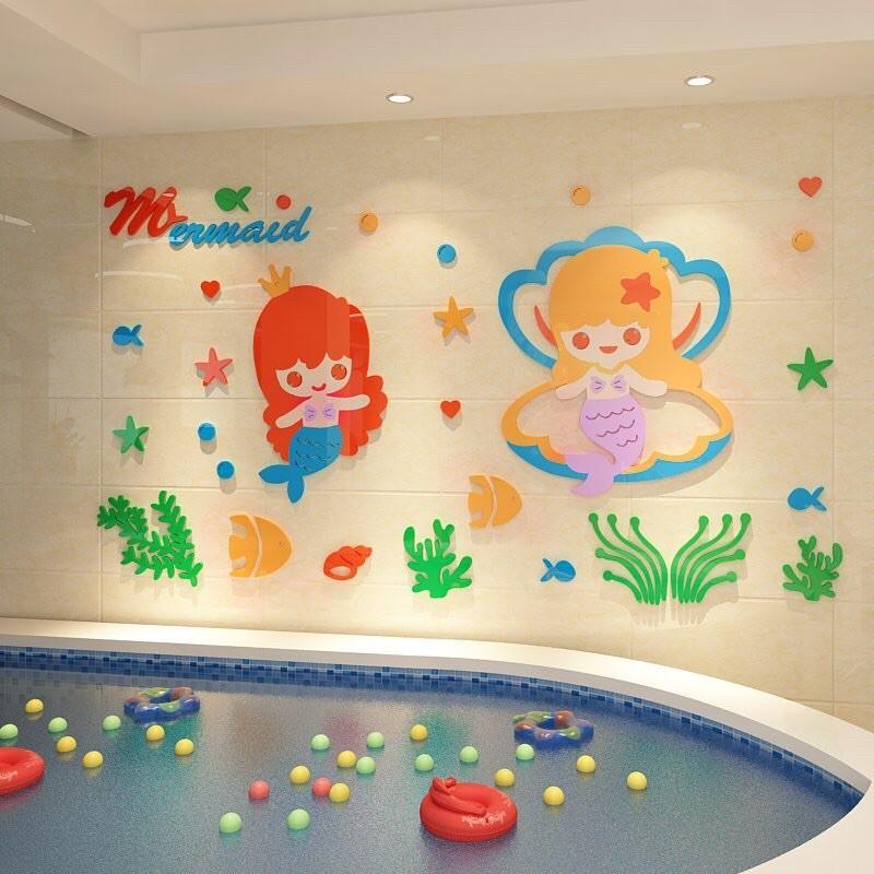 Tranh dán tường mica - tiên cá baby trang trí phòng ngủ, bể bơi, khu vui chơi cho bé