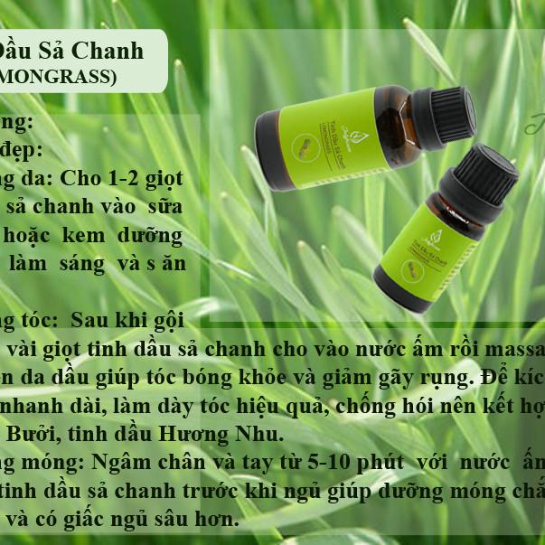 Combo 3 tinh dầu Sả Chanh, Bạc Hà, Sả Java JULYHOUSE + Tặng kèm tinh dầu Cam Ngọt 10ml.