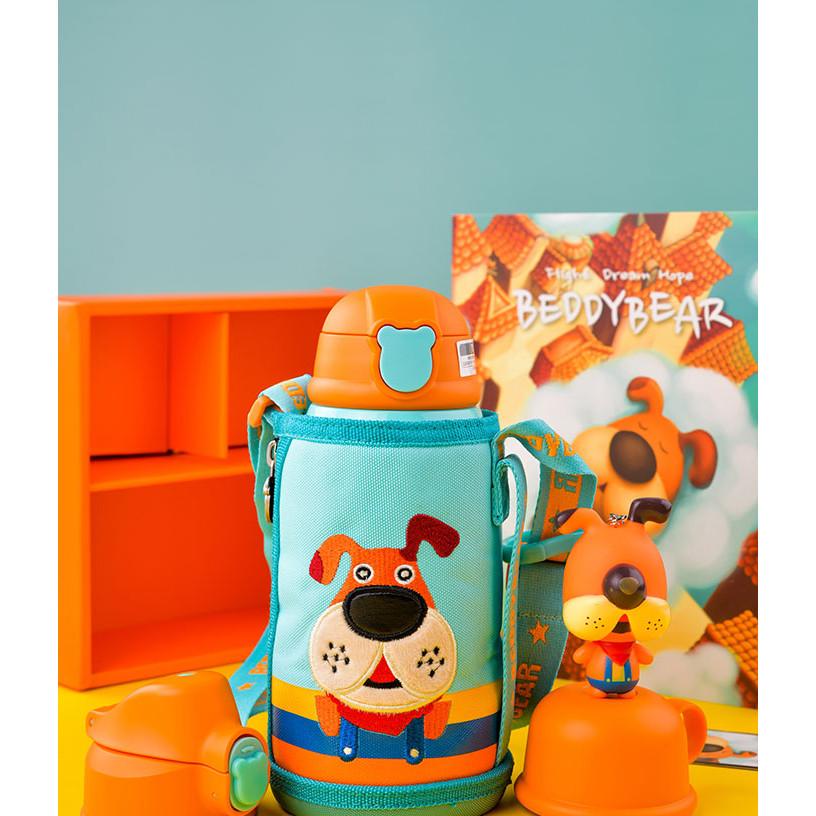 BEDDYBEAR  Bình giữ nhiệt cho bé có túi đeo  dung tích 630ml  inox cao cấp 316  3 nắp thay thế  họa tiết Con Chó RT104-630-CHO