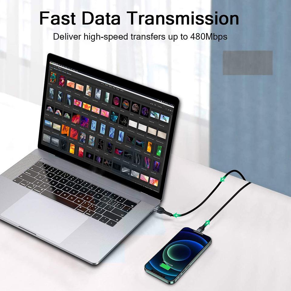 Dây Cáp Sạc Lightning chuẩn MFi Cho iPhone QGeeM 2m dây cáp bện sợi nylon - Hàng Chính Hãng