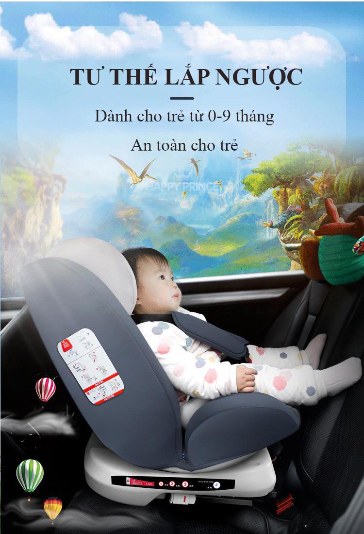 Ghế ô tô 2 chiều CHUẨN ISO 9001, điều chỉnh 4 tư thế từ nằm tới ngồi và có thể điều chỉnh độ cao 7 cấp cho bé từ 0-12 tuổi (xám) 11
