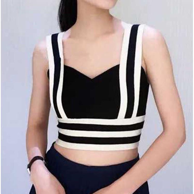 Áo hai dây bản to chất len tăm kiểu dáng sọc viền đai lưng co giãn mùa hè cho bạn gái