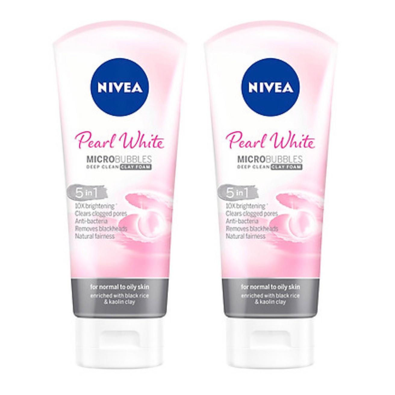 Bộ 2 Sữa rửa mặt NIVEA Pearl White Đất Sét giúp trắng da ngọc trai (100g*2)
