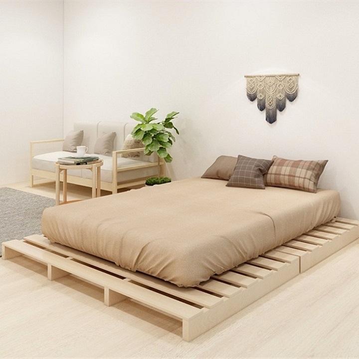 Giường PALLET DECOR - Dài 2m Rộng 1,3m Cao 5cm, gỗ thông nhập khẩu
