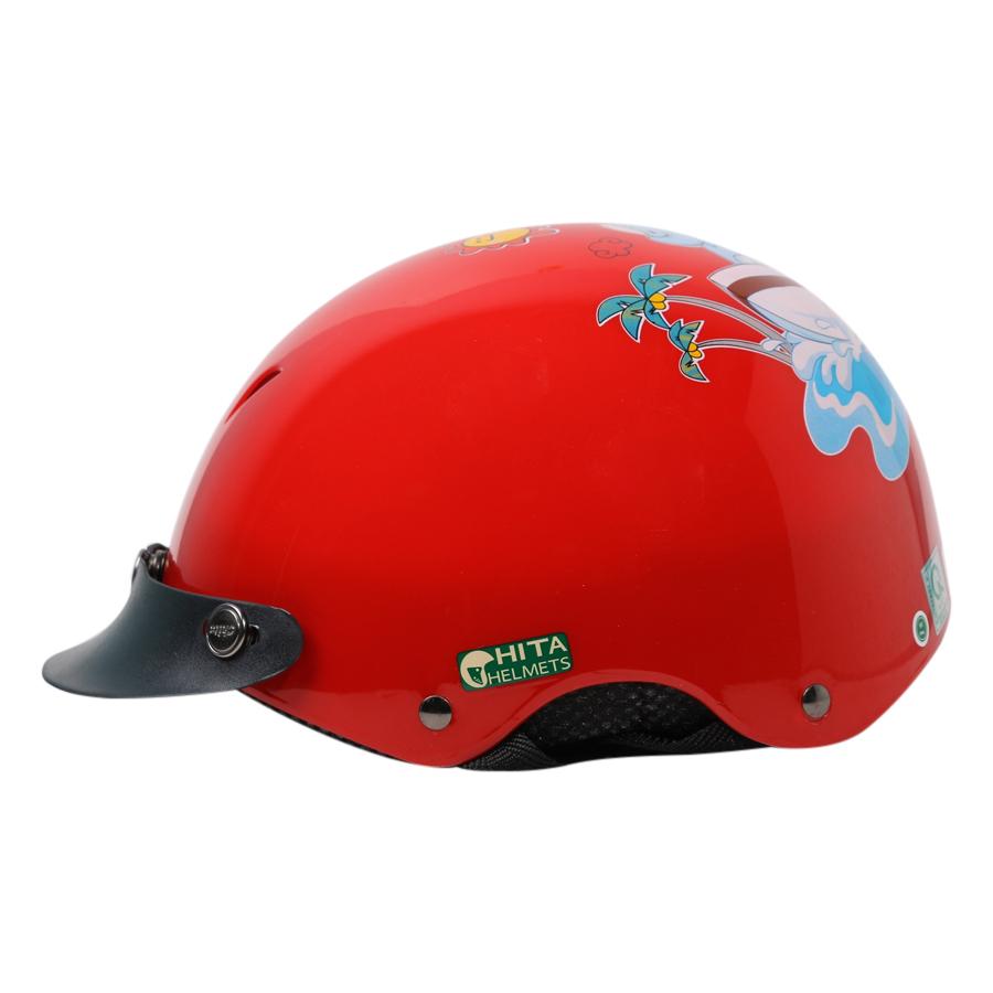 Mũ Bảo Hiểm Chita CT9A Màu Đỏ Sơn Bóng Tem Voi Chèo Thuyền
