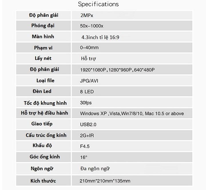 Kính hiển vi điện tử phóng đại 1000X màn hình hiển thị lớn 4.3inch tỉ lệ 16:9 ( Tặng kèm 01 miếng thép nhiều chứ năng trong một )