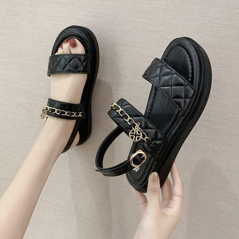 (2 Màu) Sandal nữ Trần Chỉ Viền Xích Kiểu Dáng Học Sinh Cực Đẹp