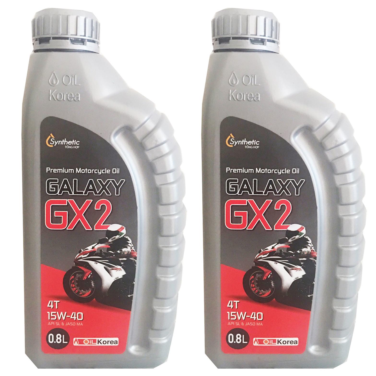 Nhớt xe số Galaxy GX2 Hàn Quốc cao cấp (15ww40) - 2 chai - 800ml - Hàng chính hãng