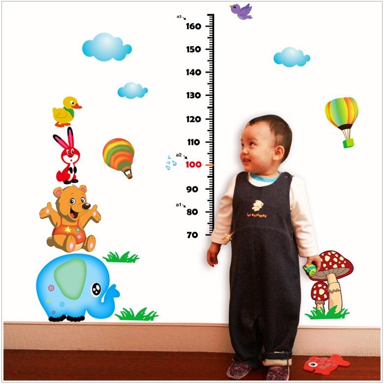 Decal dán tường Thước đo chiều cao voi gấu AmyShop DTD005 (128 x 115cm)
