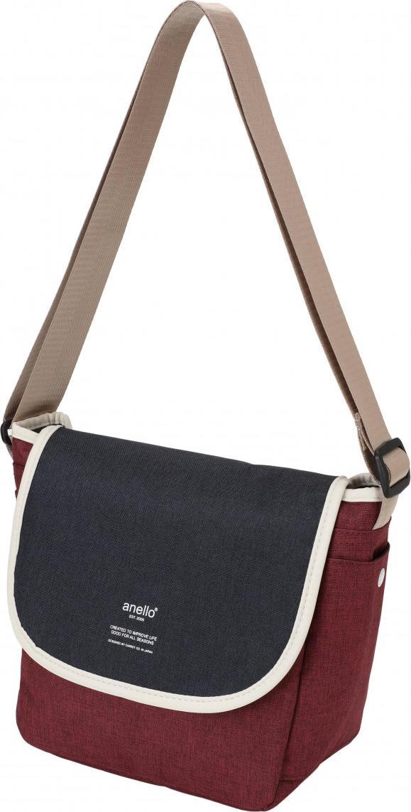 Túi đeo chéo ANELLO unisex vải polyester cỡ nhỏ AT-N0661 - Màu Đỏ phối Xanh, Trắng