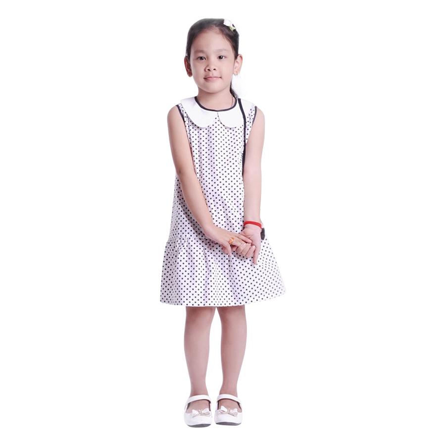 Đầm Suông Bé Gái Cổ Sen Chấm Bi Nơ Đen Ugether UKID28 - Chấm Bi Size 910