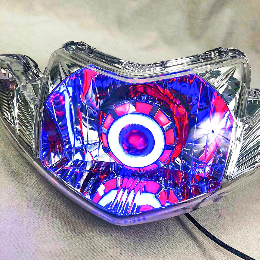 Đầu đèn pha led bi cầu mắt cú xe sirius ( 4 chế độ ) chớp trắng , cos pha trắng , led màu Green Networks Group