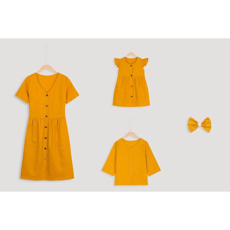 Đầm Mẹ Và Bé Nút Vàng (1 món)-SB04 Fashion cực chất - Combo thời trang mẹ bé  Hãng 3 Đậu Đậu