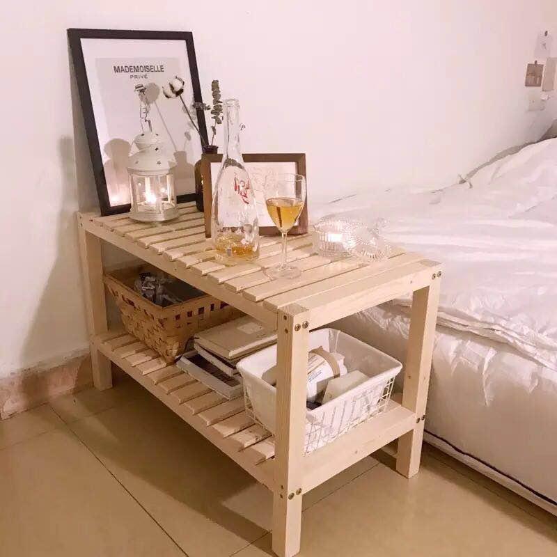 Kệ, tap đầu giường 2 tầng đa năng chất liệu gỗ thông tự nhiên trang trí phong cách Hàn Quốc sz60x35x50cm