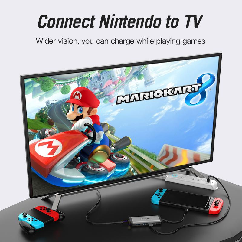 Cáp chuyển USB Type-C to HDMI + USB 3.0*3 + LAN + SD + TF + PD (87w) Vention THAHB - Hàng chính hãng