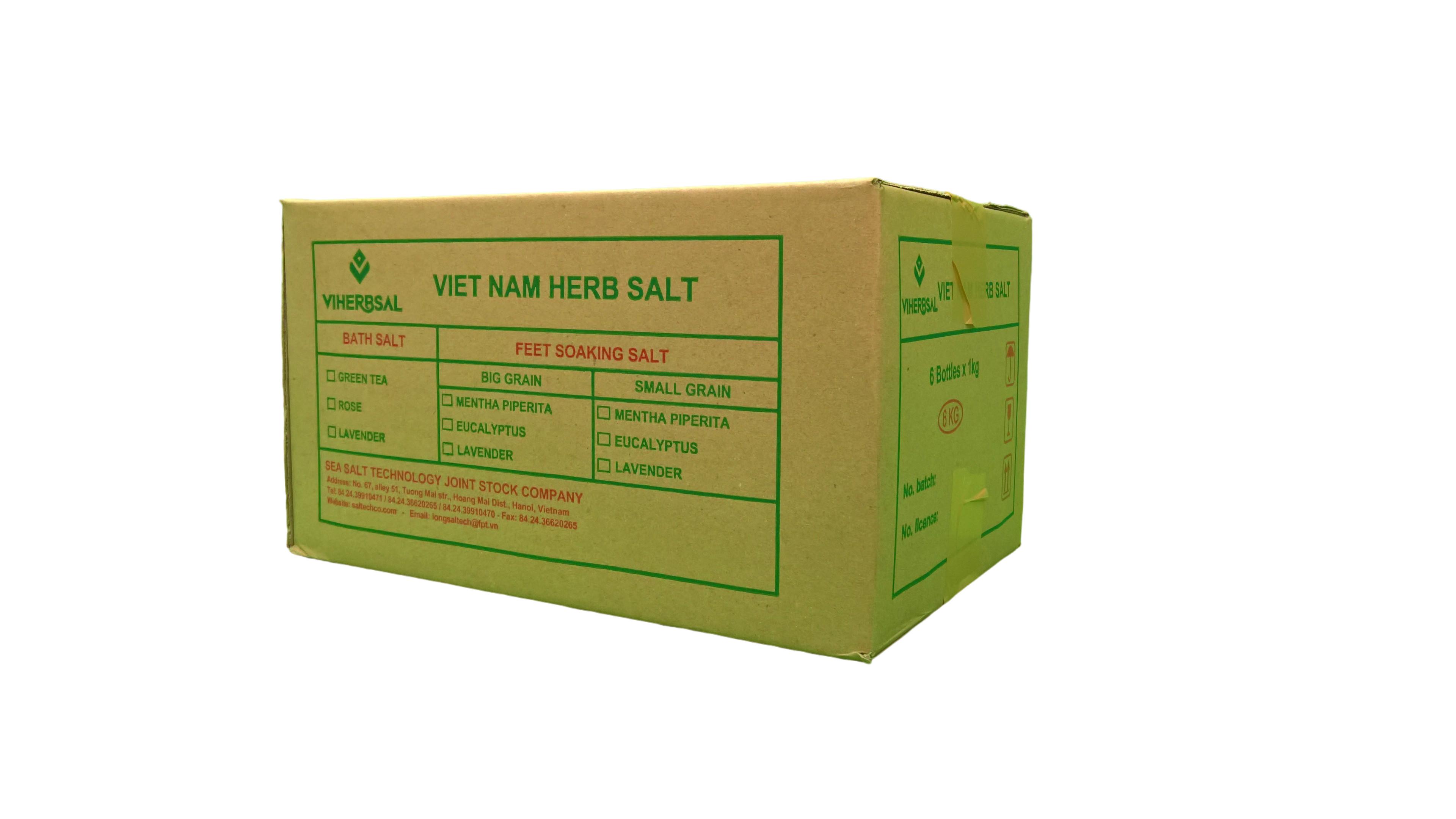 Thùng Muối Tắm Trà Xanh 6 Lọ - 1 lọ/1kg