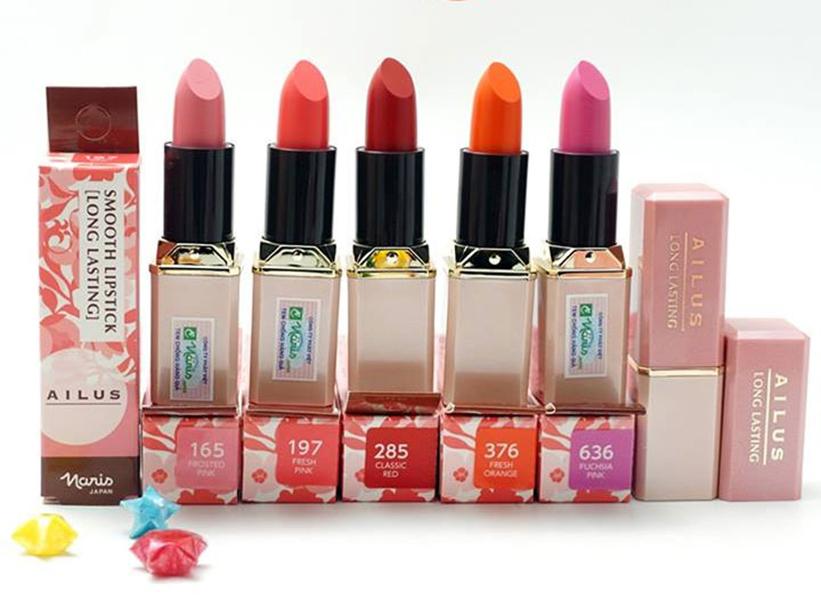 Son thỏi mềm môi Naris Ailus Smooth Lipstick Moisture Rich Nhật Bản 3.7g (#184 Rose Pink) + Móc khóa