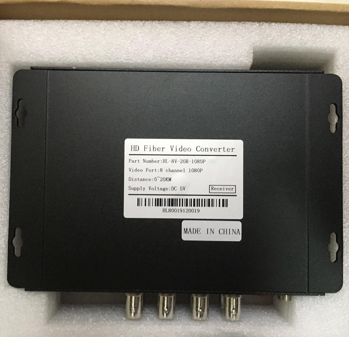 Bộ chuyển đổi Video sang quang 8 kênh GNETCOM HL-8V-20T/R-1080P (2 thiết bị,2 adapter) - Hàng Chính Hãng