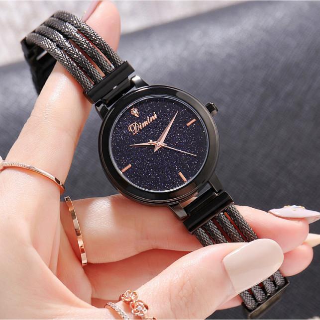 Đồng hồ nữ dây thép mặt đá Sapphire Dimini D5266 chống nước chống xước sang trọng cao cấp - Đen